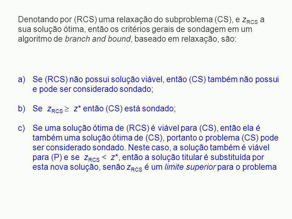 Denotando por (RCS) uma relaxação do subproblema (CS), e z RCS a sua solução ótima, então os critérios gerais de sondagem em um algoritmo de branch an