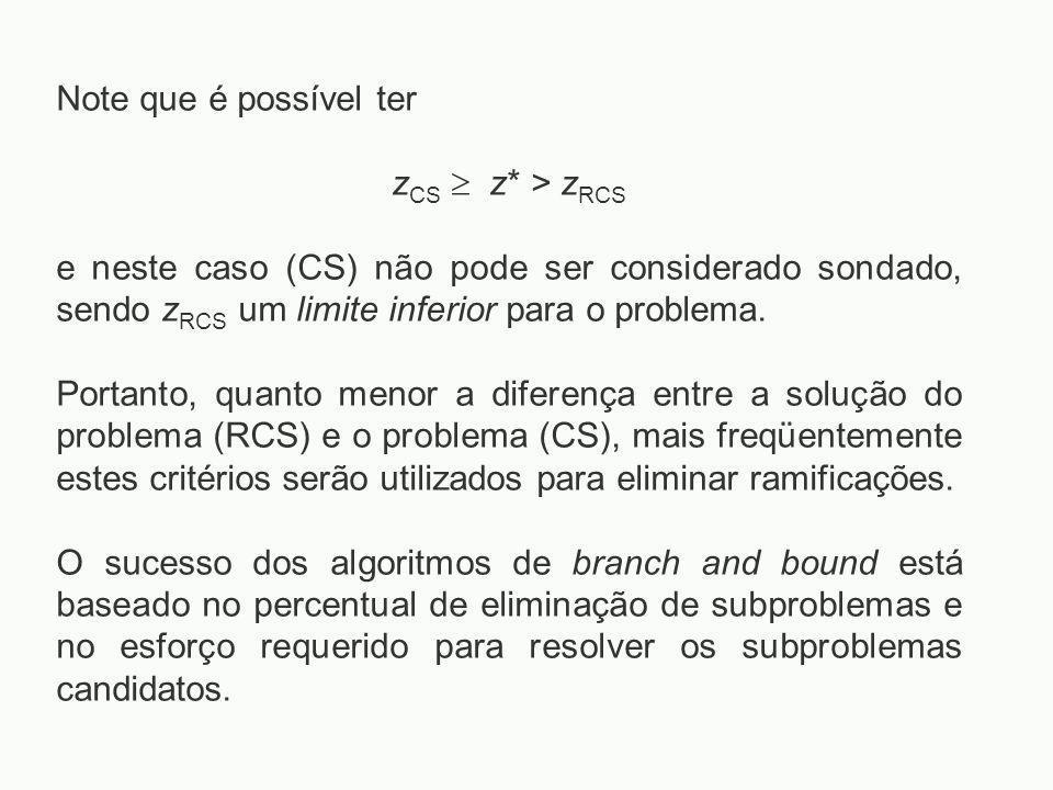 Note que é possível ter z CS  z* > z RCS e neste caso (CS) não pode ser considerado sondado, sendo z RCS um limite inferior para o problema. Portanto