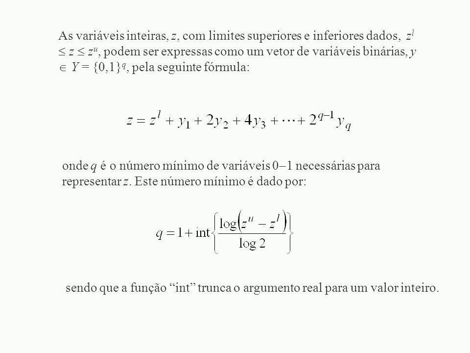 As variáveis inteiras, z, com limites superiores e inferiores dados, z l  z  z u, podem ser expressas como um vetor de variáveis binárias, y  Y = {