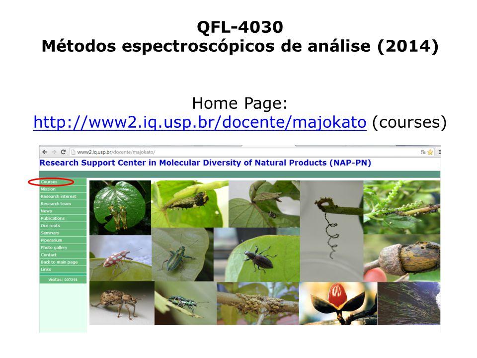 QFL-4030 Métodos espectroscópicos de análise (2014) Home Page: http://www2.iq.usp.br/docente/majokato (courses) http://www2.iq.usp.br/docente/majokato