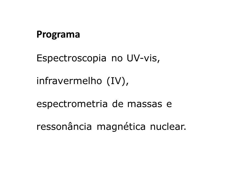 Programa Espectroscopia no UV-vis, infravermelho (IV), espectrometria de massas e ressonância magnética nuclear.