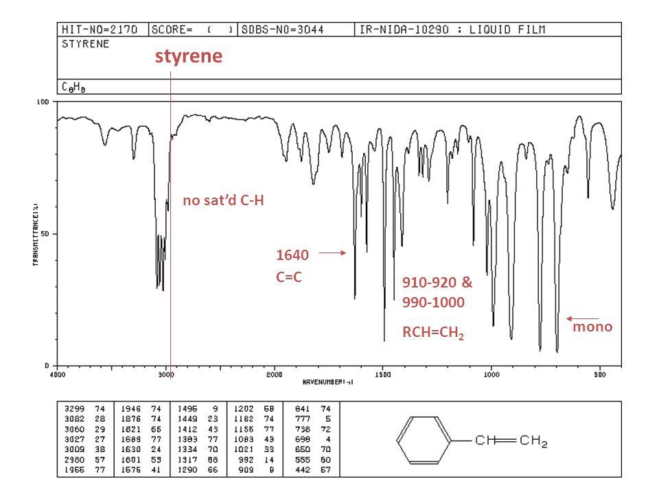 styrene no sat'd C-H 910-920 & 990-1000 RCH=CH 2 mono 1640 C=C