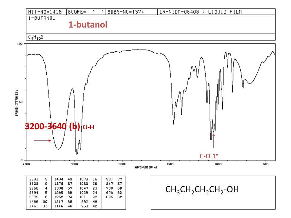1-butanol CH 3 CH 2 CH 2 CH 2 -OH C-O 1 o 3200-3640 (b) O-H
