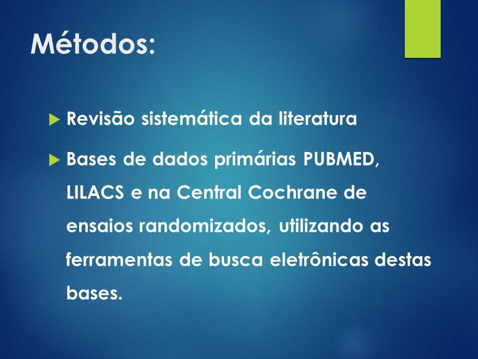 Métodos:  Protocolo do estudo: O método de estruturação da pergunta a ser respondida pela revisão será baseado no método PICO que descreve a população a intervenção, o grupo controle e os desfechos estudados.