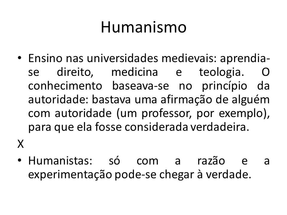 Humanismo Ensino nas universidades medievais: aprendia- se direito, medicina e teologia. O conhecimento baseava-se no princípio da autoridade: bastava