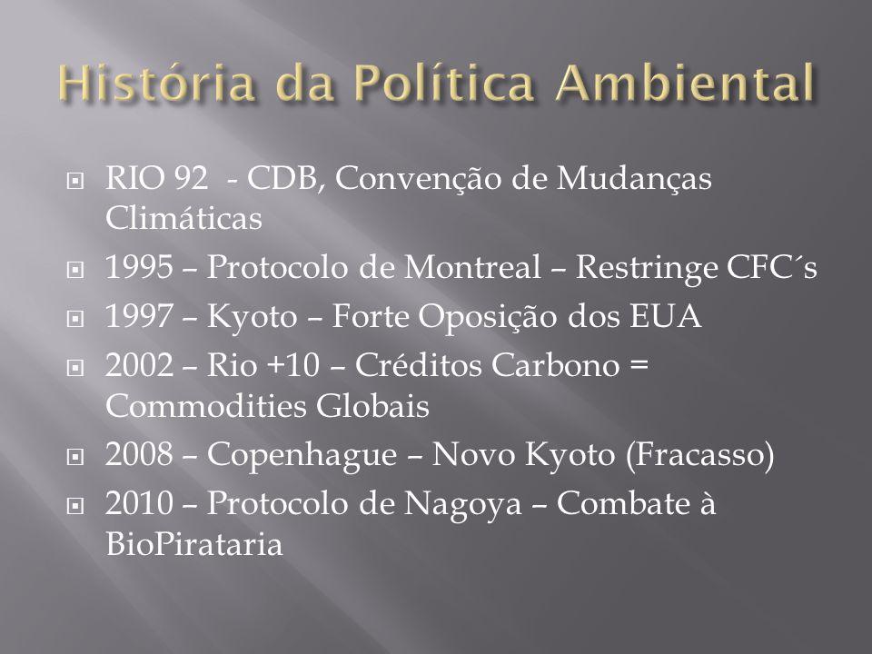  RIO 92- CDB, Convenção de Mudanças Climáticas  1995 – Protocolo de Montreal – Restringe CFC´s  1997 – Kyoto – Forte Oposição dos EUA  2002 – Rio