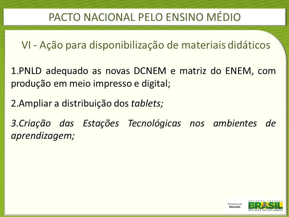 1.PNLD adequado as novas DCNEM e matriz do ENEM, com produção em meio impresso e digital; 2.Ampliar a distribuição dos tablets; 3.Criação das Estações
