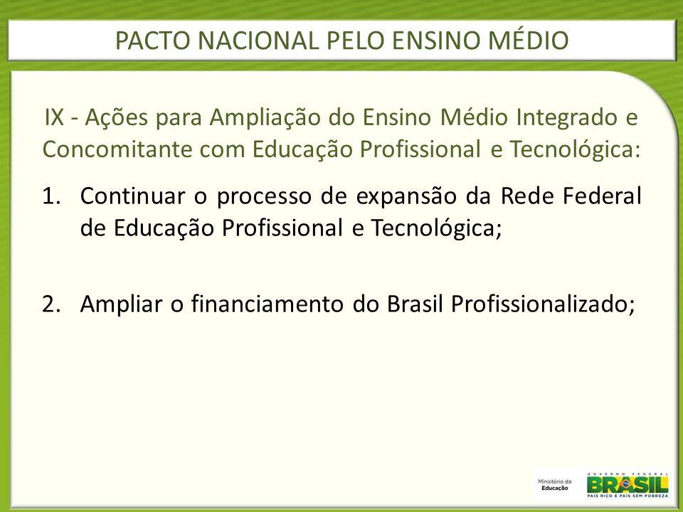 1.Continuar o processo de expansão da Rede Federal de Educação Profissional e Tecnológica; 2.Ampliar o financiamento do Brasil Profissionalizado; IX -