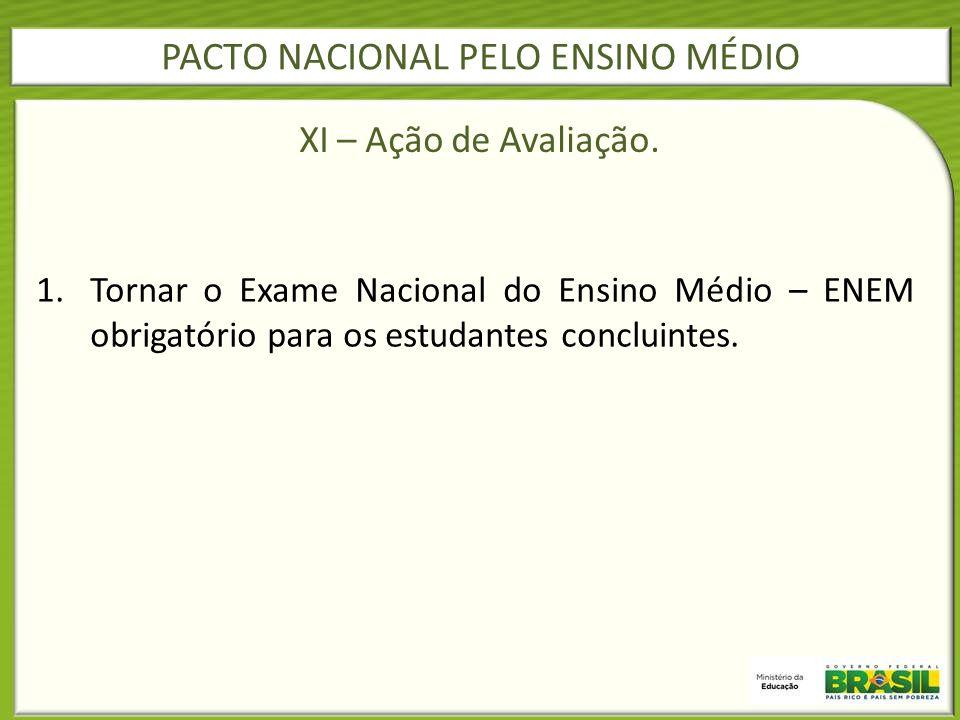 1.Tornar o Exame Nacional do Ensino Médio – ENEM obrigatório para os estudantes concluintes. PACTO NACIONAL PELO ENSINO MÉDIO XI – Ação de Avaliação.