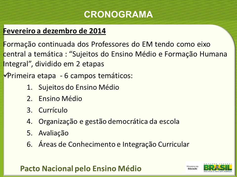 """Fevereiro a dezembro de 2014 Formação continuada dos Professores do EM tendo como eixo central a temática : """"Sujeitos do Ensino Médio e Formação Human"""