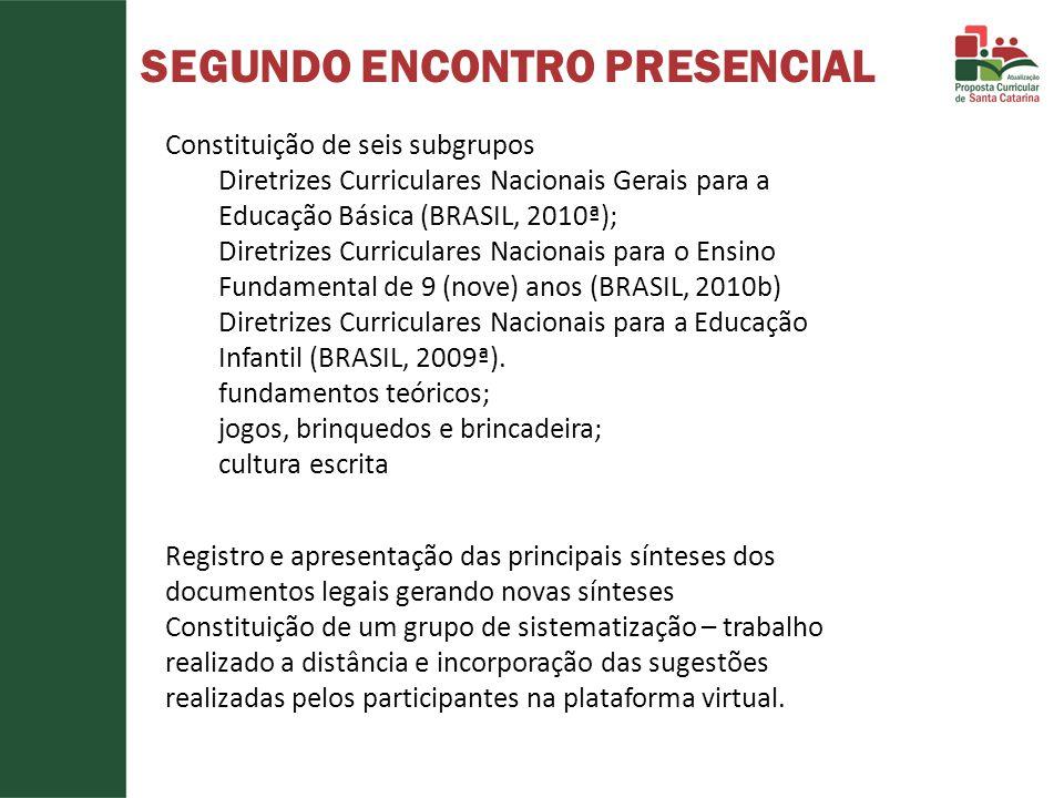 SEGUNDO ENCONTRO PRESENCIAL Constituição de seis subgrupos Diretrizes Curriculares Nacionais Gerais para a Educação Básica (BRASIL, 2010ª); Diretrizes