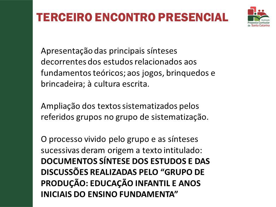TERCEIRO ENCONTRO PRESENCIAL Apresentação das principais sínteses decorrentes dos estudos relacionados aos fundamentos teóricos; aos jogos, brinquedos e brincadeira; à cultura escrita.