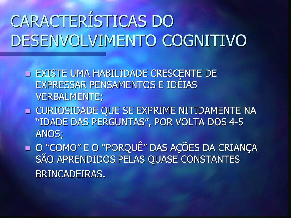 CARACTERÍSTICAS DO DESENVOLVIMENTO COGNITIVO EXISTE UMA HABILIDADE CRESCENTE DE EXPRESSAR PENSAMENTOS E IDÉIAS VERBALMENTE; EXISTE UMA HABILIDADE CRES
