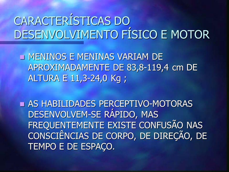 CARACTERÍSTICAS DO DESENVOLVIMENTO FÍSICO E MOTOR MENINOS E MENINAS VARIAM DE APROXIMADAMENTE DE 83,8-119,4 cm DE ALTURA E 11,3-24,0 Kg ; MENINOS E ME