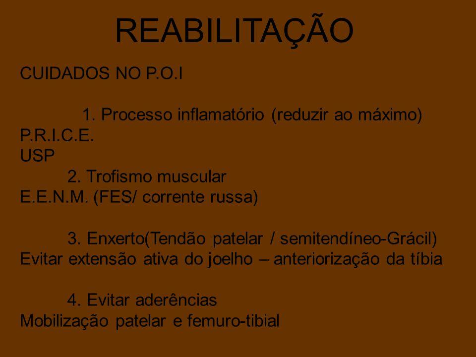 REABILITAÇÃO CUIDADOS NO P.O.I 1. Processo inflamatório (reduzir ao máximo) P.R.I.C.E. USP 2. Trofismo muscular E.E.N.M. (FES/ corrente russa) 3. Enxe