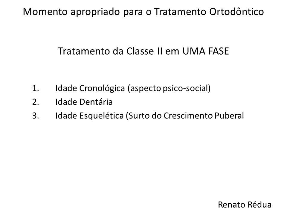 Tratamento da Classe II em UMA FASE Momento apropriado para o Tratamento Ortodôntico 1.Idade Cronológica (aspecto psico-social) 2.Idade Dentária 3.Ida