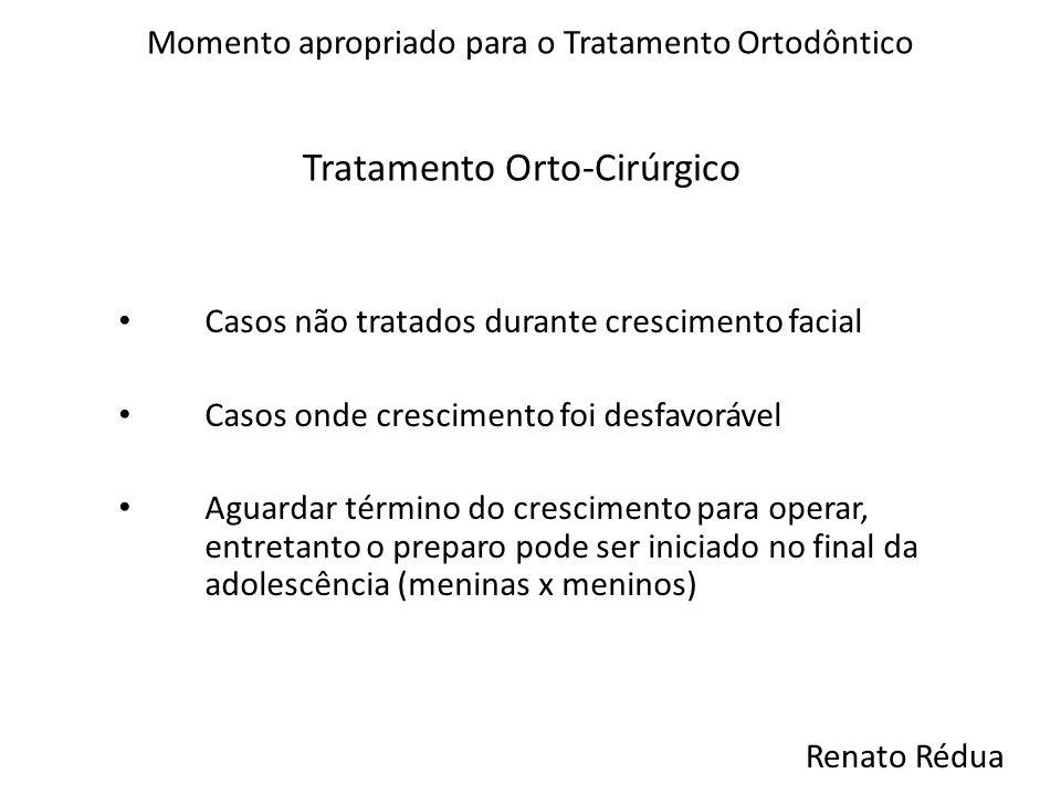 Tratamento Orto-Cirúrgico Momento apropriado para o Tratamento Ortodôntico Casos não tratados durante crescimento facial Casos onde crescimento foi de