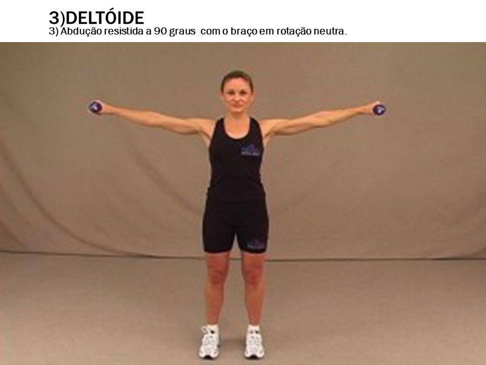 3)DELTÓIDE 3) Abdução resistida a 90 graus com o braço em rotação neutra.