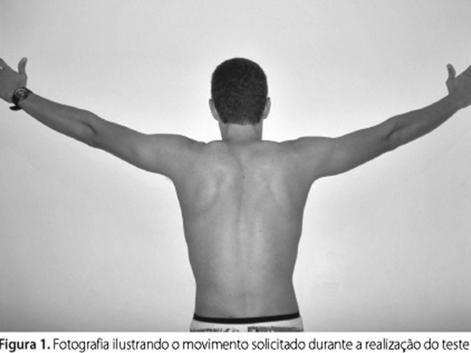 1)Elevação braço: Observar o movimento da escápula e posição. Observar a proeminência da borda medial da escápula: indica perda do controle da escápul