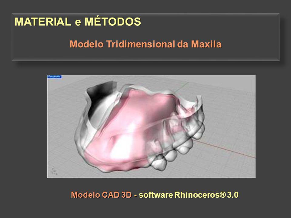 Modelo CAD 3D - software Rhinoceros® 3.0 Modelo CAD 3D - software Rhinoceros® 3.0 MATERIAL e MÉTODOS Modelo Tridimensional da Maxila MATERIAL e MÉTODO