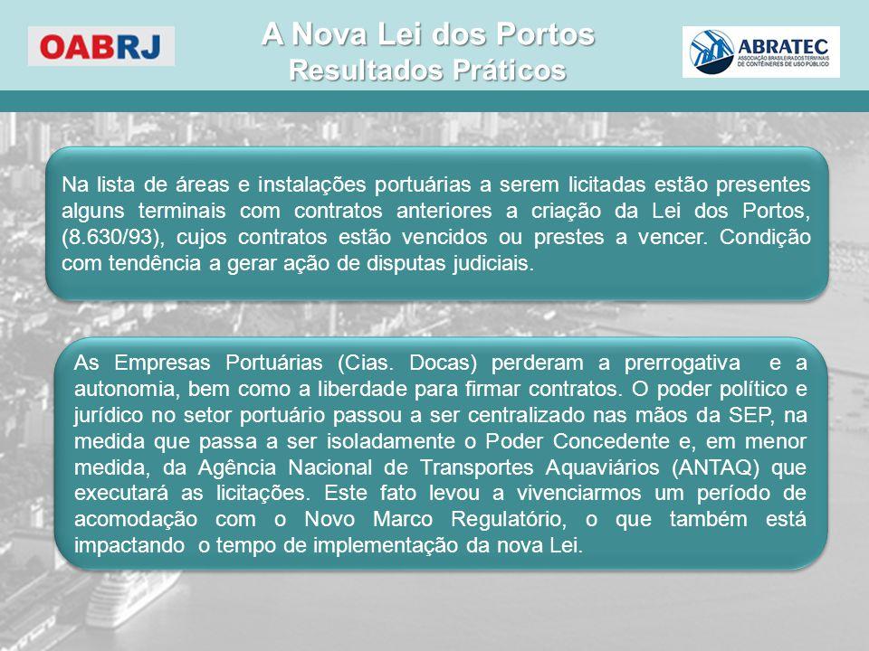 As Empresas Portuárias (Cias. Docas) perderam a prerrogativa e a autonomia, bem como a liberdade para firmar contratos. O poder político e jurídico no