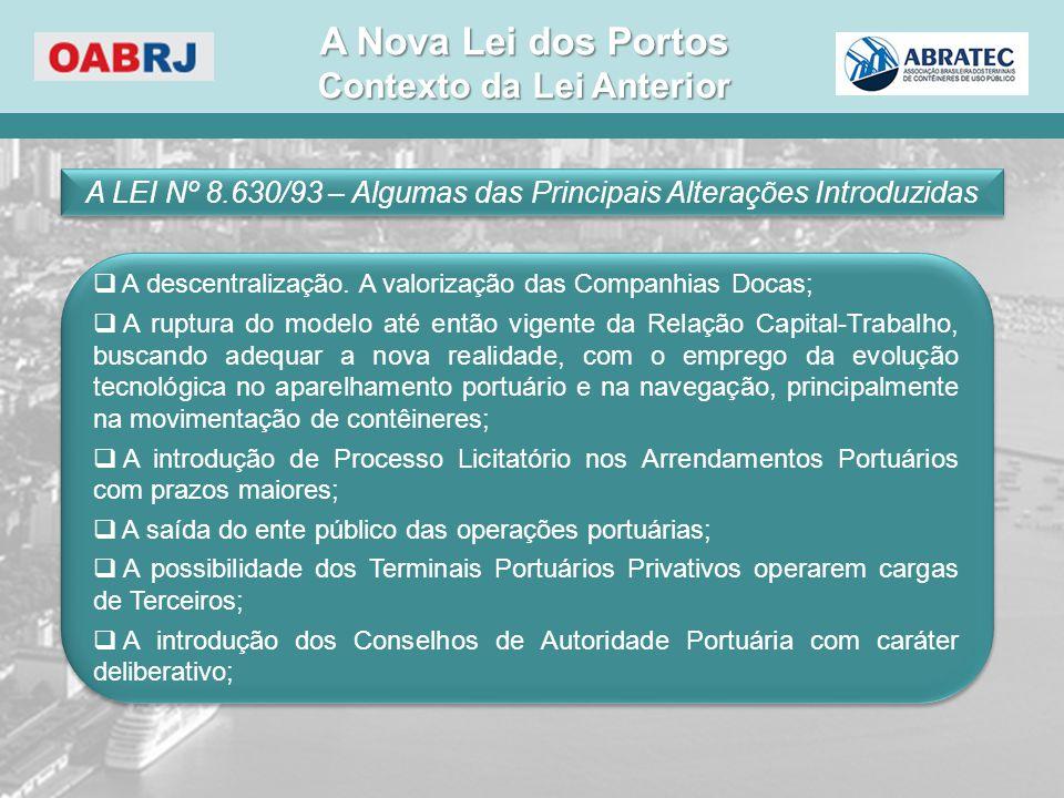 A LEI Nº 8.630/93 – Algumas das Principais Alterações Introduzidas  A descentralização. A valorização das Companhias Docas;  A ruptura do modelo até