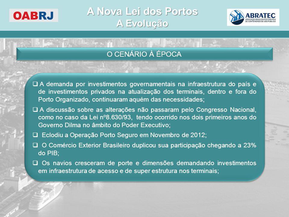 A EVOLUÇÃO  A discussão teve início no âmbito do Governo da Presidente Dilma Rousseff com a participação de algumas empresas e representantes do setor portuário nos anos de 2011/2012;  A edição da Medida Provisória nº 595/2012;  A apresentação das Emendas Parlamentares (645);  O Processo Parlamentar de Conversão em Lei;  A contratação da EBP (Estruturadora Brasileira de Projetos) – Portaria SEP nº 38/2013 de 15 de Fevereiro de 2013;  A Lei nº 12.815 de 5 de junho de 2013 e o Decreto nº 8.033 de 27 de junho de 2013;  A definição do Modelo de Licitação (4 Lotes de conjuntos de Portos – 165 arrendamentos);  As Audiências Públicas para os Lotes 1 e 2;  O posicionamento do TCU em relação aos estudos apresentados pela EBP;  A regularização dos Arrendamentos Portuários nos Portos Organizados – Reequilíbrio Econômico Financeiro/Prorrogação de Prazo  A discussão teve início no âmbito do Governo da Presidente Dilma Rousseff com a participação de algumas empresas e representantes do setor portuário nos anos de 2011/2012;  A edição da Medida Provisória nº 595/2012;  A apresentação das Emendas Parlamentares (645);  O Processo Parlamentar de Conversão em Lei;  A contratação da EBP (Estruturadora Brasileira de Projetos) – Portaria SEP nº 38/2013 de 15 de Fevereiro de 2013;  A Lei nº 12.815 de 5 de junho de 2013 e o Decreto nº 8.033 de 27 de junho de 2013;  A definição do Modelo de Licitação (4 Lotes de conjuntos de Portos – 165 arrendamentos);  As Audiências Públicas para os Lotes 1 e 2;  O posicionamento do TCU em relação aos estudos apresentados pela EBP;  A regularização dos Arrendamentos Portuários nos Portos Organizados – Reequilíbrio Econômico Financeiro/Prorrogação de Prazo A Nova Lei dos Portos A Evolução