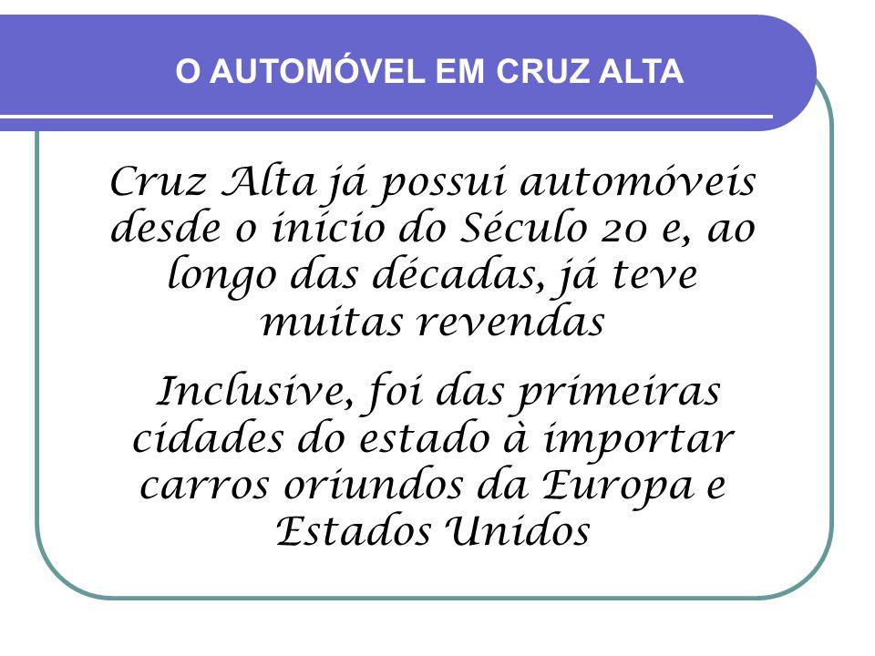 Cruz Alta já possui automóveis desde o início do Século 20 e, ao longo das décadas, já teve muitas revendas Inclusive, foi das primeiras cidades do estado à importar carros oriundos da Europa e Estados Unidos O AUTOMÓVEL EM CRUZ ALTA