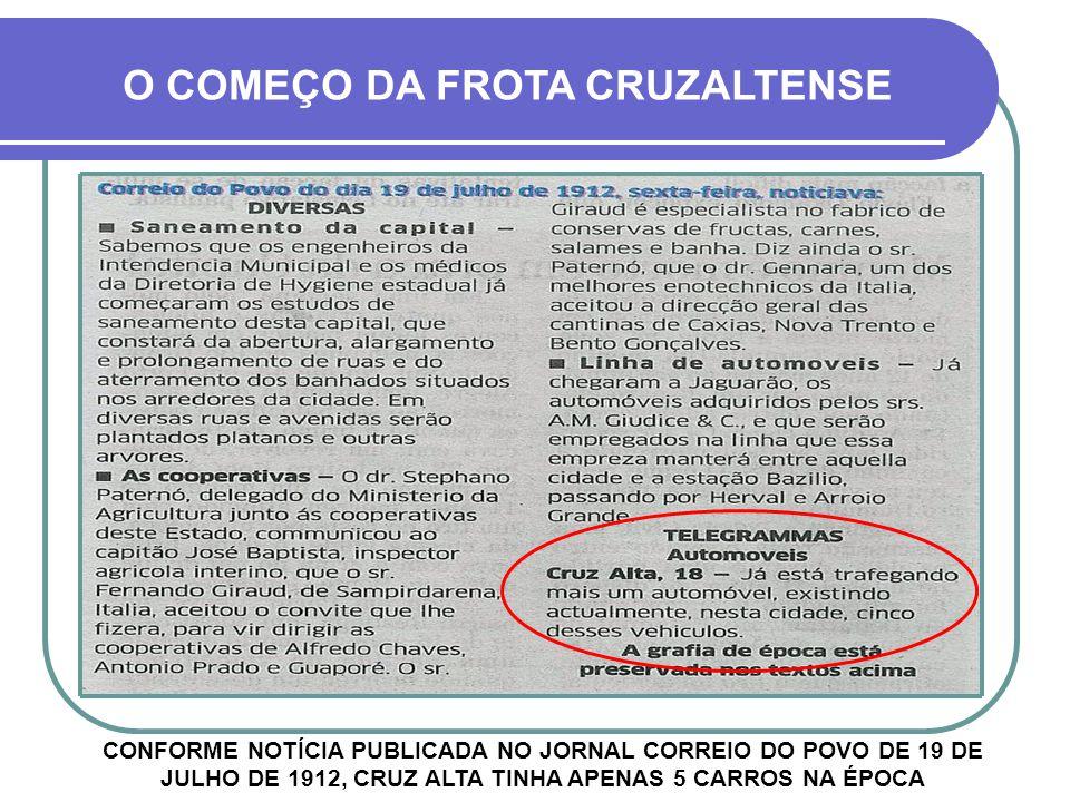 O COMEÇO DA FROTA CRUZALTENSE CONFORME NOTÍCIA PUBLICADA NO JORNAL CORREIO DO POVO DE 19 DE JULHO DE 1912, CRUZ ALTA TINHA APENAS 5 CARROS NA ÉPOCA