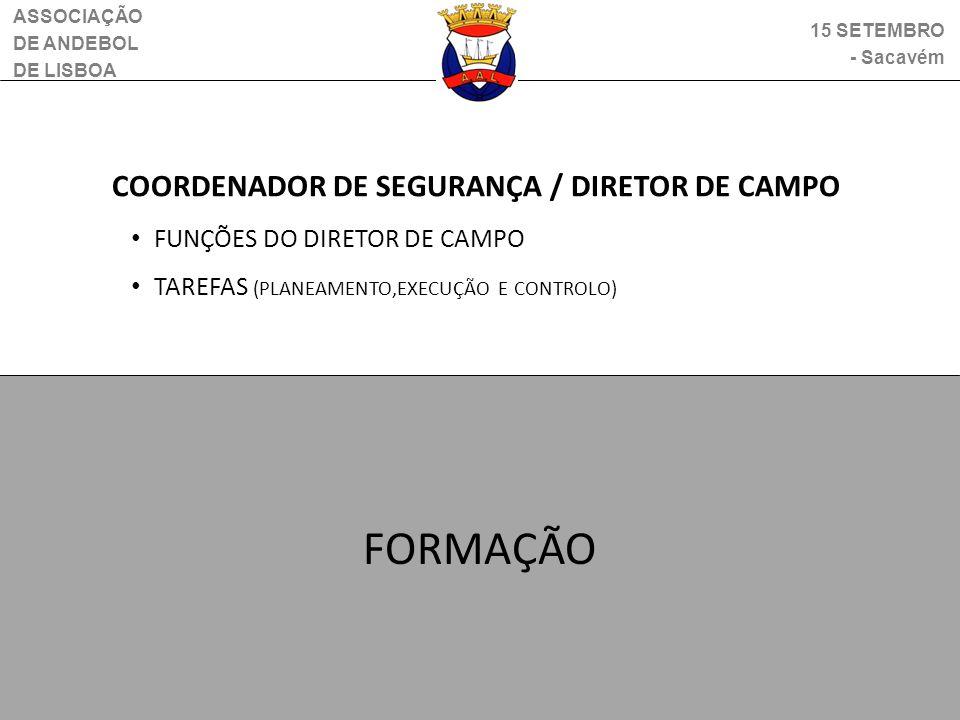 ASSOCIAÇÃO DE ANDEBOL DE LISBOA 15 SETEMBRO - Sacavém COORDENADOR DE SEGURANÇA / DIRETOR DE CAMPO FUNÇÕES DO DIRETOR DE CAMPO TAREFAS (PLANEAMENTO,EXE