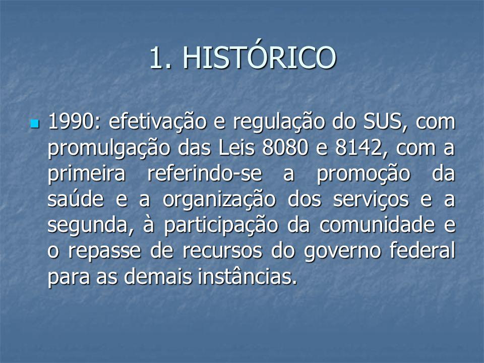 1. HISTÓRICO 1990: efetivação e regulação do SUS, com promulgação das Leis 8080 e 8142, com a primeira referindo-se a promoção da saúde e a organizaçã