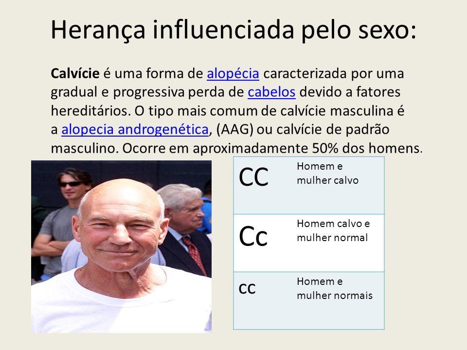 Herança influenciada pelo sexo: Calvície é uma forma de alopécia caracterizada por uma gradual e progressiva perda de cabelos devido a fatores heredit