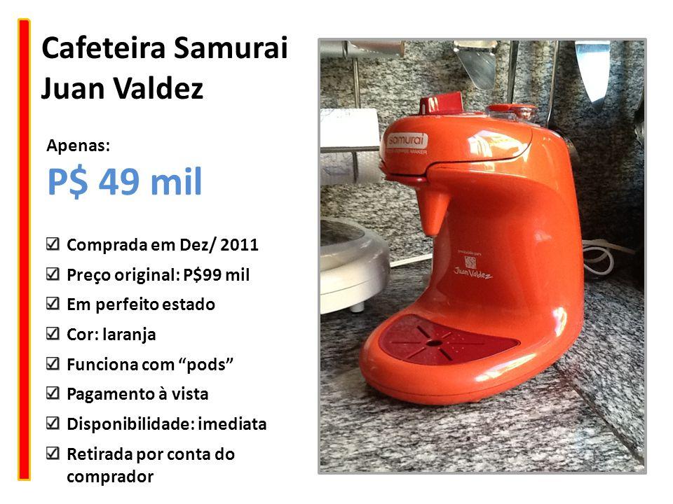 """Cafeteira Samurai Juan Valdez Comprada em Dez/ 2011 Preço original: P$99 mil Em perfeito estado Cor: laranja Funciona com """"pods"""" Pagamento à vista Dis"""