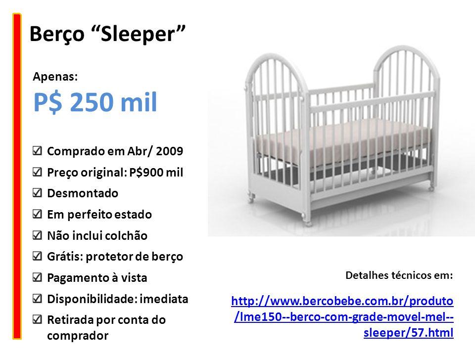 """Berço """"Sleeper"""" http://www.bercobebe.com.br/produto /lme150--berco-com-grade-movel-mel-- sleeper/57.html Detalhes técnicos em: Comprado em Abr/ 2009 P"""