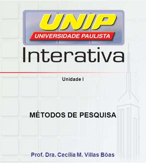 Unidade I MÉTODOS DE PESQUISA Prof. Dra. Cecília M. Villas Bôas