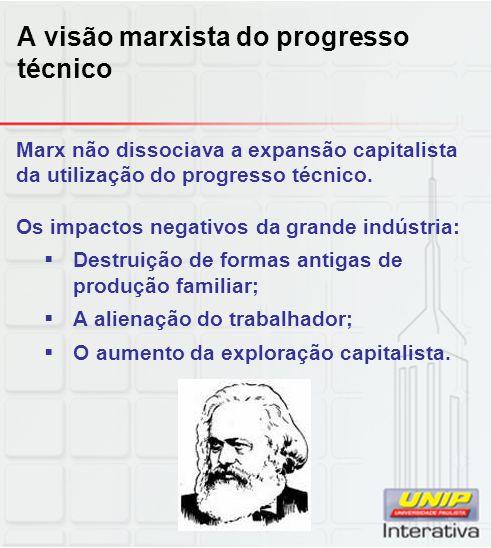 A visão marxista do progresso técnico Marx não dissociava a expansão capitalista da utilização do progresso técnico. Os impactos negativos da grande i