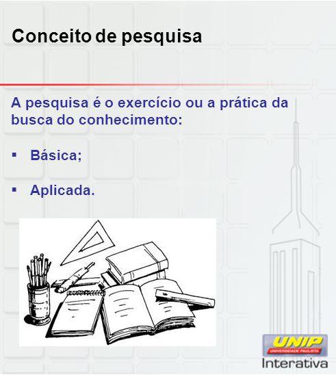 A pesquisa é o exercício ou a prática da busca do conhecimento:  Básica;  Aplicada. Conceito de pesquisa