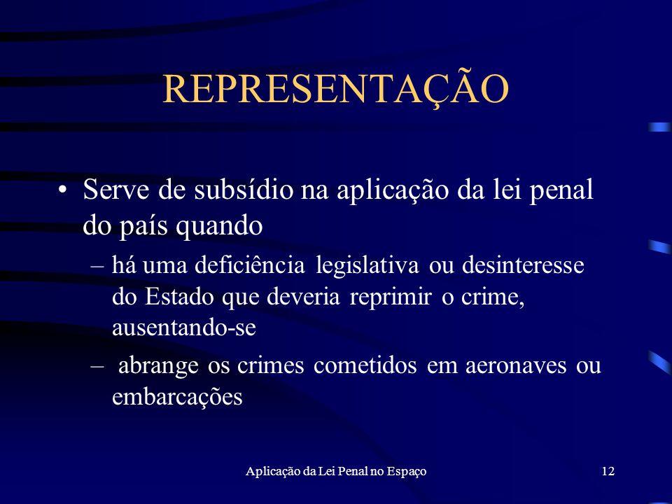 Aplicação da Lei Penal no Espaço12 REPRESENTAÇÃO Serve de subsídio na aplicação da lei penal do país quando –há uma deficiência legislativa ou desinteresse do Estado que deveria reprimir o crime, ausentando-se – abrange os crimes cometidos em aeronaves ou embarcações