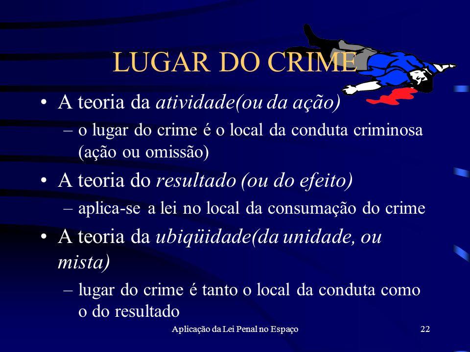 Aplicação da Lei Penal no Espaço22 LUGAR DO CRIME A teoria da atividade(ou da ação) –o lugar do crime é o local da conduta criminosa (ação ou omissão) A teoria do resultado (ou do efeito) –aplica-se a lei no local da consumação do crime A teoria da ubiqüidade(da unidade, ou mista) –lugar do crime é tanto o local da conduta como o do resultado