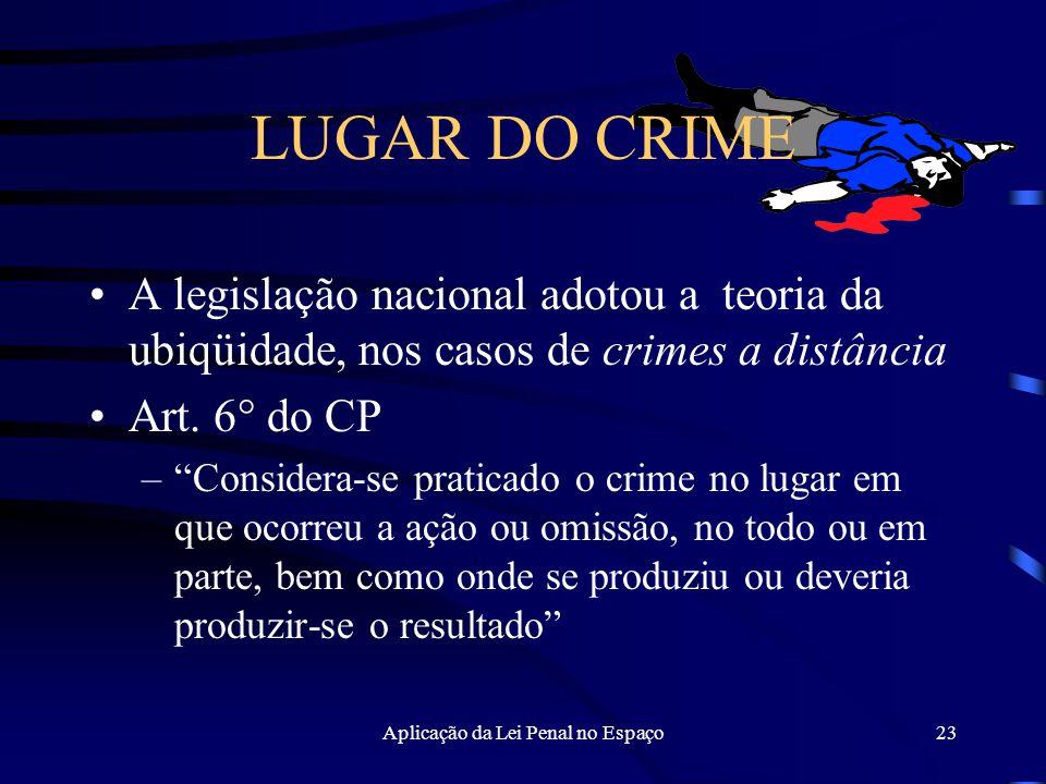 Aplicação da Lei Penal no Espaço23 LUGAR DO CRIME A legislação nacional adotou a teoria da ubiqüidade, nos casos de crimes a distância Art.