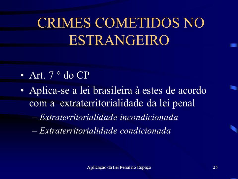 Aplicação da Lei Penal no Espaço25 CRIMES COMETIDOS NO ESTRANGEIRO Art.