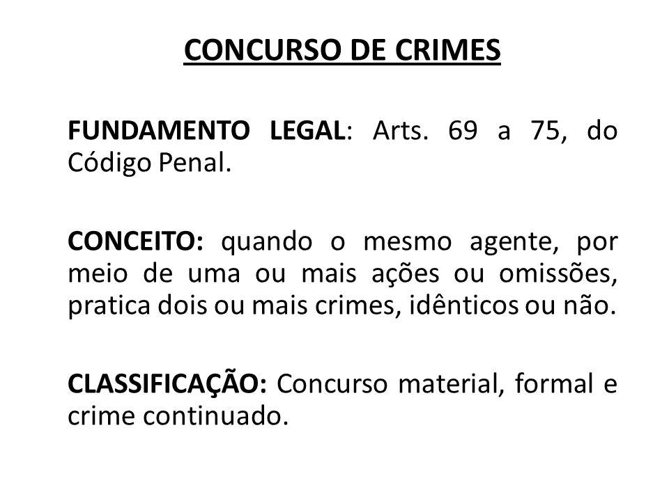 CONCURSO MATERIAL FUNDAMENTO LEGAL: art.69, caput, Código Penal.