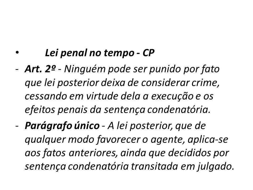Lei penal no tempo - CP -Art. 2º - Ninguém pode ser punido por fato que lei posterior deixa de considerar crime, cessando em virtude dela a execução e