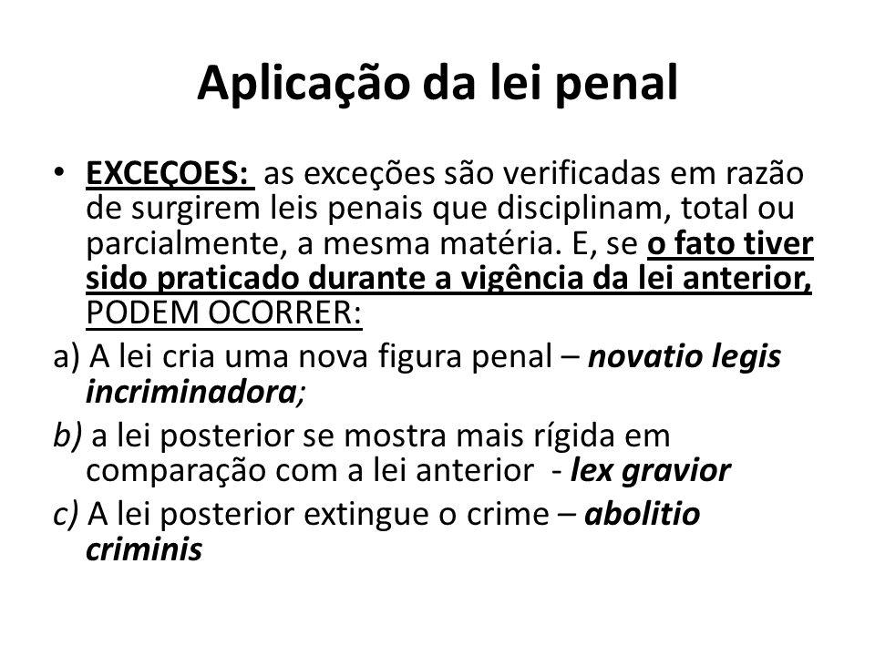 Aplicação da lei penal EXCEÇOES: as exceções são verificadas em razão de surgirem leis penais que disciplinam, total ou parcialmente, a mesma matéria.