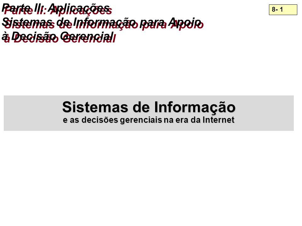 8- 1 Parte II: Aplicações Sistemas de Informação para Apoio à Decisão Gerencial Sistemas de Informação e as decisões gerenciais na era da Internet