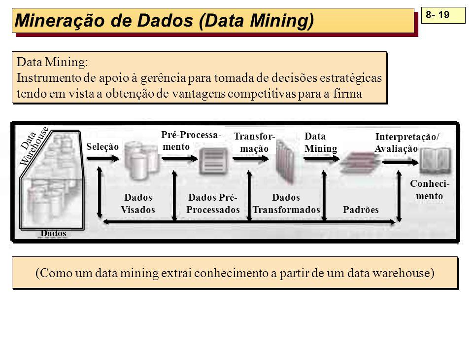 8- 19 Mineração de Dados (Data Mining) Dados Dados Pré- Processados Dados Visados Dados TransformadosPadrões Pré-Processa- mento Transfor- mação Data