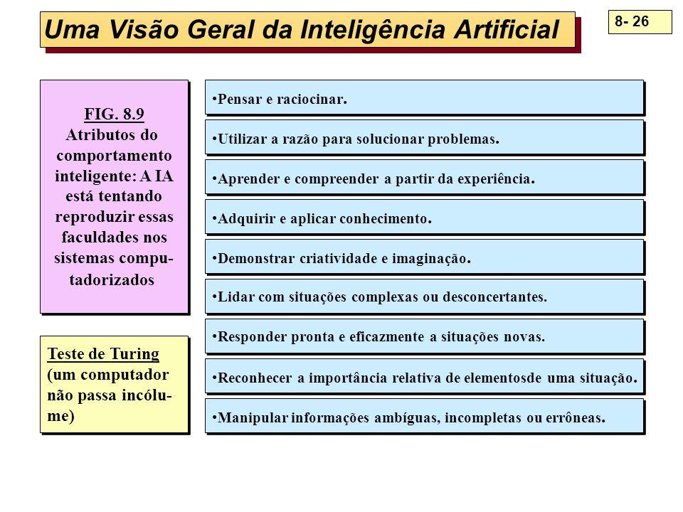 8- 26 Uma Visão Geral da Inteligência Artificial FIG. 8.9 Atributos do comportamento inteligente: A IA está tentando reproduzir essas faculdades nos s
