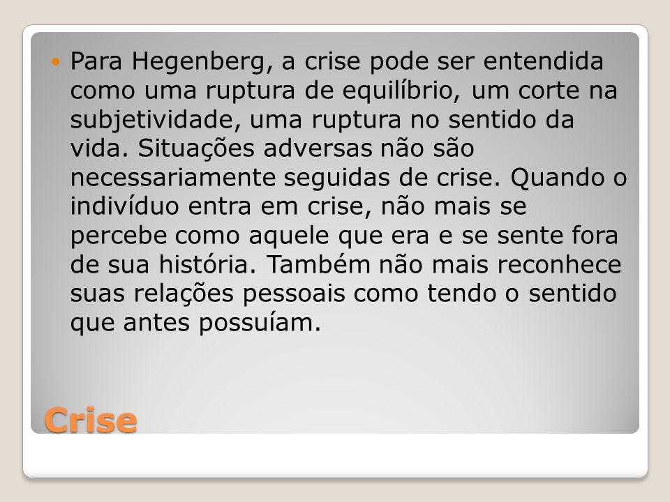 Crise Para Hegenberg, a crise pode ser entendida como uma ruptura de equilíbrio, um corte na subjetividade, uma ruptura no sentido da vida. Situações