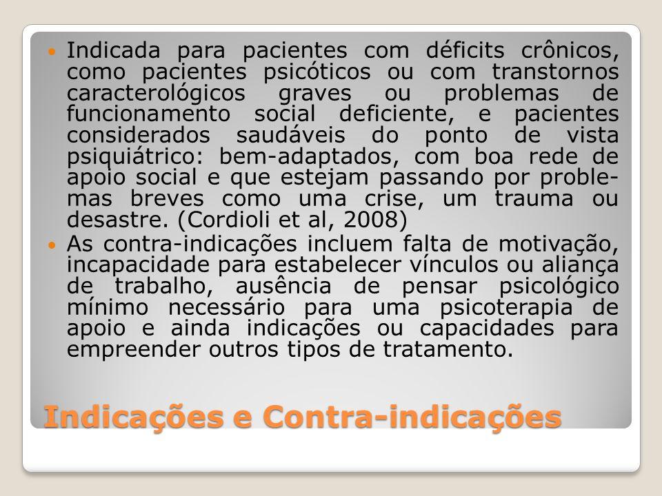 Indicações e Contra-indicações Indicada para pacientes com déficits crônicos, como pacientes psicóticos ou com transtornos caracterológicos graves ou