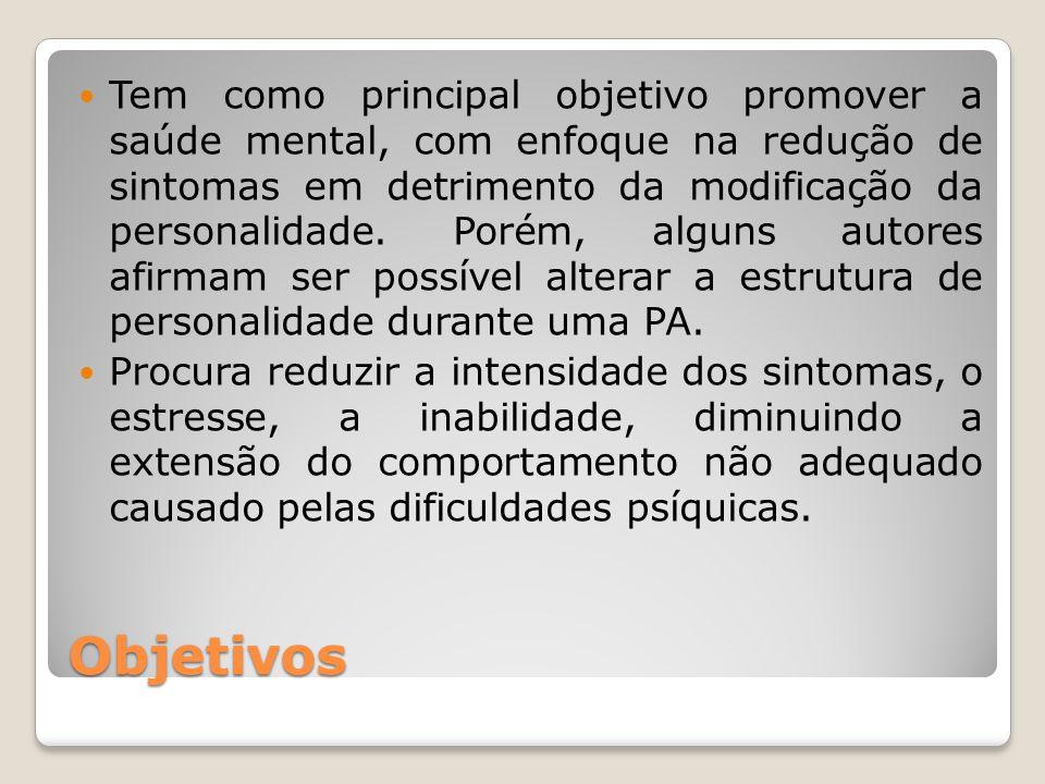 Objetivos Tem como principal objetivo promover a saúde mental, com enfoque na redução de sintomas em detrimento da modificação da personalidade. Porém